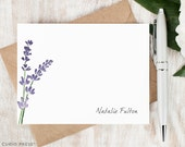 Personalized Notecard Set / Set of Flat Personalized Stationery / Custom Stationary Set / Watercolor Painted Purple Flowers // LAVENDER