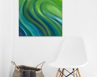 Abstract wave painting Green wall art Green oil painting Painting of wave Big green wave Abstract wall art Green wave canvas painting