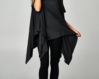 Women's Charcoal Asymmetrical Hem Short Sleeve Tunic - One Size