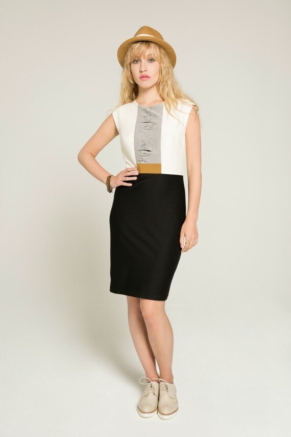 DEAR SOUL - sleeveless tailored dress, working girl dress for women - black and white with ripped look