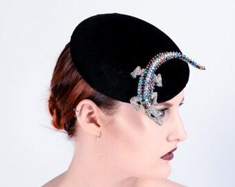 Black velvet button hat