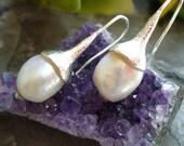 Freshwater pearl earring ,style 1920s earrings ,11-12mm pearl earring ,flower pearl earring, antique pearl earring  1