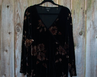 1990s Plus Size Vintage Black and Brown Stretch Velvet Floral Faux Wrap Blouse Thanksgiving Halloween