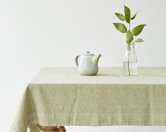 Sage Washed Linen Tablecloth