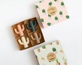 Four petite cactus soaps - Handmade Soap, Cold Processed Soap, Natural, Vegan, Artisan.