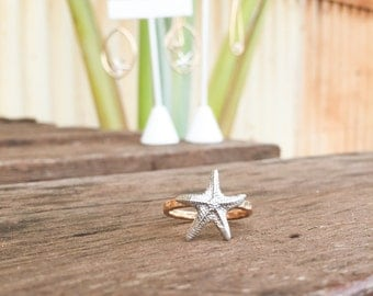 Star Fish Ring. Size 7 Sterling Silver Ring Starfish Ring Hand Made Jewelry Hawaiian Jewelry. Beach Ring. Bridesmaids Jewelry Bridal Jewelry