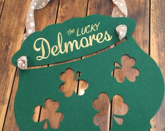 FREE SHIPPING! St. Patrick's Felt Door Hanger with Cute Polkadot Burlap to Hang