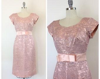 50s Pink & Purple Lace Party Dress / 1950s Vintage Lace Hourglass Wiggle Dress / Medium / Size 6 - 8