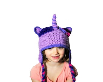 Girls Unicorn Hat, Crochet Unicorn, Purple Horse, Horn Hat, Unicorn Beanie, Knit Unicorn Hat, Toddler Girls, Kids Dress Up, Girls Purple Hat
