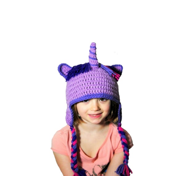 Crochet Unicorn Outfit : Girls Unicorn Hat, Crochet Unicorn, Purple Horse, Horn Hat, Unicorn ...