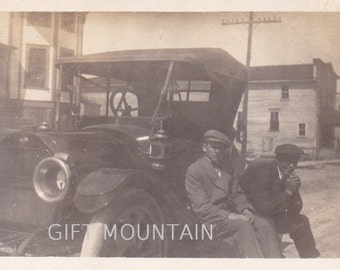 Old Automobile With 2 Young Men - Antique Car Photo, Snapshot, Photograph