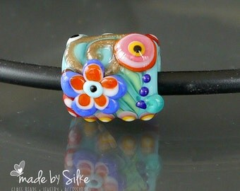 Handmade glass lampwork big hole bead BHB   fits also european charm necklaces or bracelets   made by Silke   OOAK   SRA