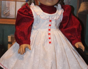 Red, White 1850's Dress, Pinafore for 18 Inch Dolls fits American Girl Kirsten, Addy, Cecile, Marie-Grace and other Dolls
