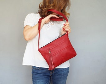 Red leather crossbody bag. Small leather tassel purse.