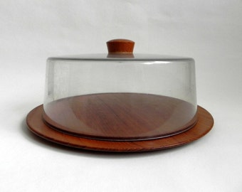 Karl Holmberg teak and plastic cheese tray Swedish Mid Century Nordic design.