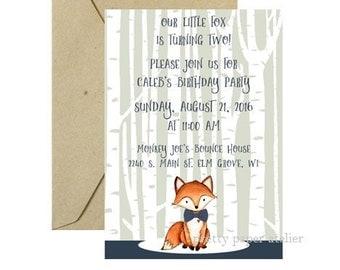 Little boy's birthday invitation fox birch trees forest blue green bow tie
