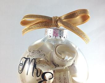 Christmas tree ornament, engagement gift, Wedding Invitation Keepsake Christmas Ornament, Wedding Gift, bridal shower gift