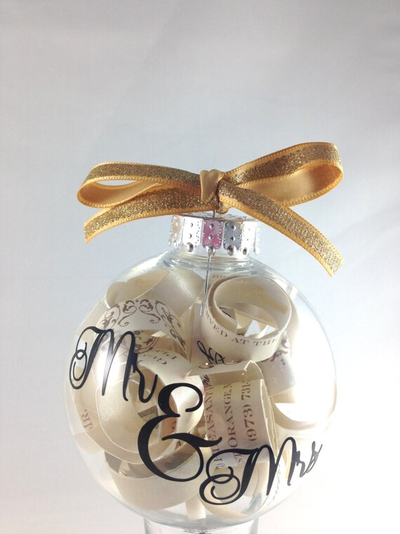 Christmas tree ornament engagement gift wedding invitation for Engagement christmas tree ornaments