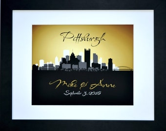 Pittsburgh skyline, engagement gift, pittsburgh art print, pittsburgh wedding gift, pittsburgh pennsylvania, pittsburgh map poster cityscape