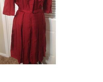 "Vintage handmade maroon ""Mad Men"" style dress with pleated skirt"
