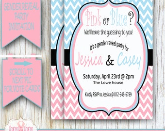 Gender Reveal Baby Shower Invitation, Reveal Baby Shower, Gender Reveal Shower, Boy or Girl, Pink and Blue