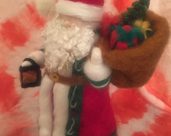 Ready to ship Needle felted vintage santa  claus waldorf inspired Father Christmas