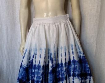 Batik Midi Skirt with Huge Drape