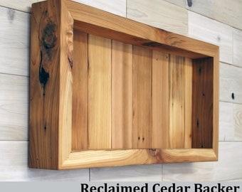 "Reclaimed Cedar Shadow Box 24"" x 12"" x 3"" with clear acrylic front"
