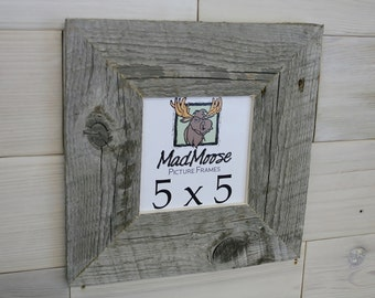 "5x5 BarnWood [Thin x 3""] Picture Frame... (a.k.a. Weathered Wood Square Frame, Rustic Gray Wood Picture Frame)"