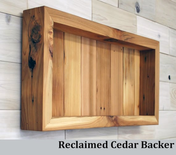 "Reclaimed Cedar Shadow Box 24"" x 12"" x 3"" with clear acrylic front"