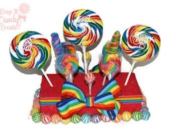 Rainbow Lollipop Centerpiece, Rainbow Candy Centerpiece, Rainbow Centerpiece,  Carnival Birthday Theme, Circus Birthday Centerpiece, Candy