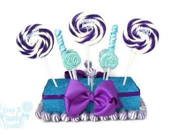 Purple and Turquoise Candy Centerpiece, Purple and Turquoise Wedding Centerpiece, Peacock Theme Decor, Quinceanera, Sweet 16 Centerpiece