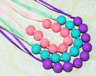 Chew Beads, Teething Beads, Nursing Necklace for Mommy and Baby Food-Grade Silicone Baby Shower Gift