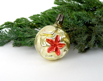 Soviet Christmas ornament Bubble with star Glass Christmas ornament Red star tree decoration bauble  Red Army Soviet military star 1960s