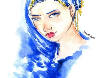 Ice Queen Cometh, Blue Hair Girl, Ice Queen Girl, Ice Queen Girl Print, Blue Girl Art Print,Blue Hair Art Print