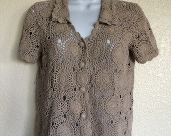 Grey Crochet Button Up