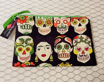 Zipper pouch, Cosmetic pouch, Pencil case, Freida, Skulls