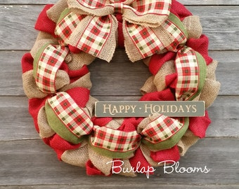 Christmas Wreath, Holiday Wreath, Plaid Wreath, Seasonal Wreath, Burlap Wreath, Christmas Burlap Wreath