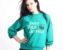 Vintage 80's Save Wild Animals Green Cotton Day Jumper Size S