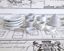 Antique Miniature China Tea Set, Plates, 1800s Dollhouse Tea Party Pieces, Porcelain, Objects for Assemblage, Antique China Doll Dishes