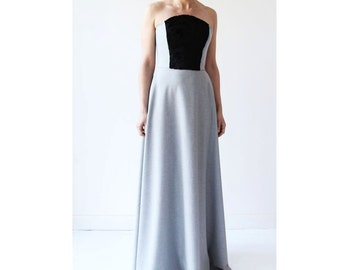 Maxi bustier dress, strapless  maxi grey dress, sleeveless dress, floor length dress, evening dress, evening floor length gown