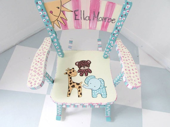 Personalized Painted Child Rocking Chair Custom Painted Kid