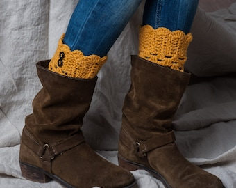 Mustard yellow boot cuffs with buttons/ boot toppers crochet/ leg warmers/ tall boot socks women teen girls accessories gift idea
