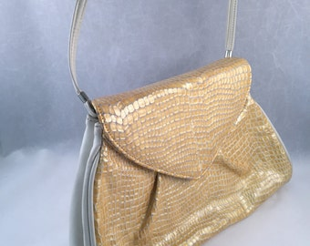 1970's Faux Animal Skin Pattern Handbag/Clutch with Removable Straps
