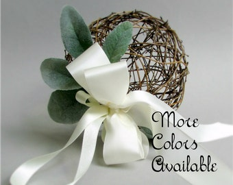"""Brown Grapevine Flower Girl Pomander, Satin Bows in Choice of Color, Dusty Miller Greenery, 6 inch Decorative Sphere Kissing Ball, """"Adalind"""""""
