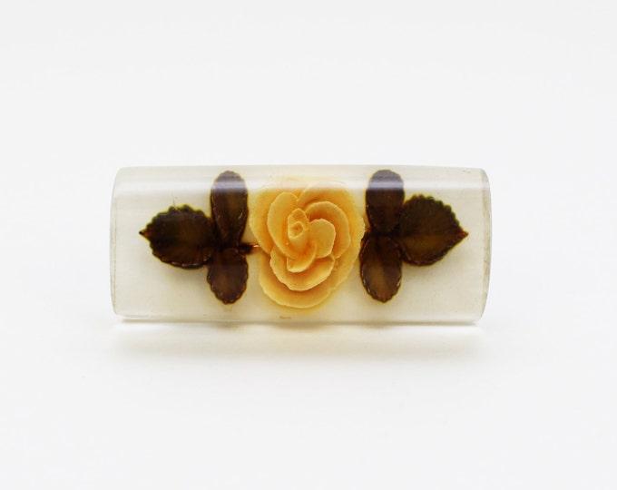 Floral Bar Brooch - 30s Reverse Carved Lucite Rose Brooch - Vintage 1930s Flower Pin