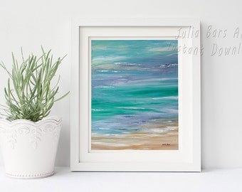 Abstract Seascape Print Printable Painting Seashore Decor Coastal Wall Decor Coastal Art Blue Abstract Printable 8x10 Digital Download Print