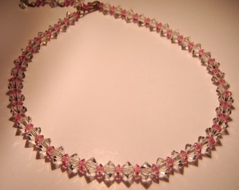 Vintage Austrian Cut Crystal Necklace in Pink & Clear