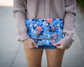 Rifle Fabric Clutch, Blue Floral Foldover Clutch, Fold Over Clutch, Light Blue Bridesmaid Gift, Rifle Paper Co Handbag, Bridal Party Gift