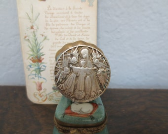 French Antique Pin, Religious Medal Brooch